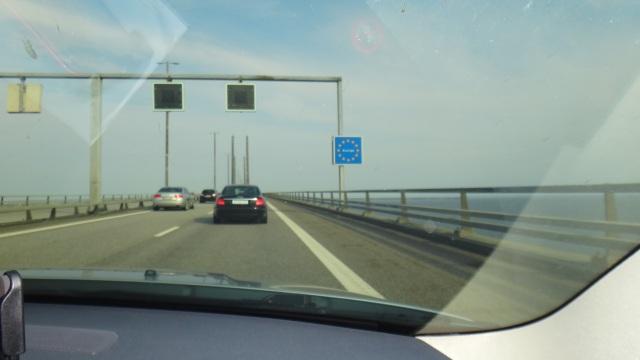 Gränsen mellan Danmark och Sverige på Öresundsbron.